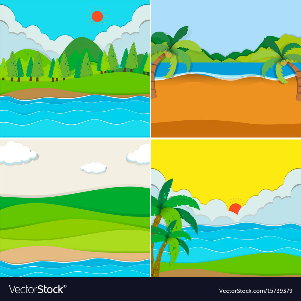 Four scenes of beach and river vector image