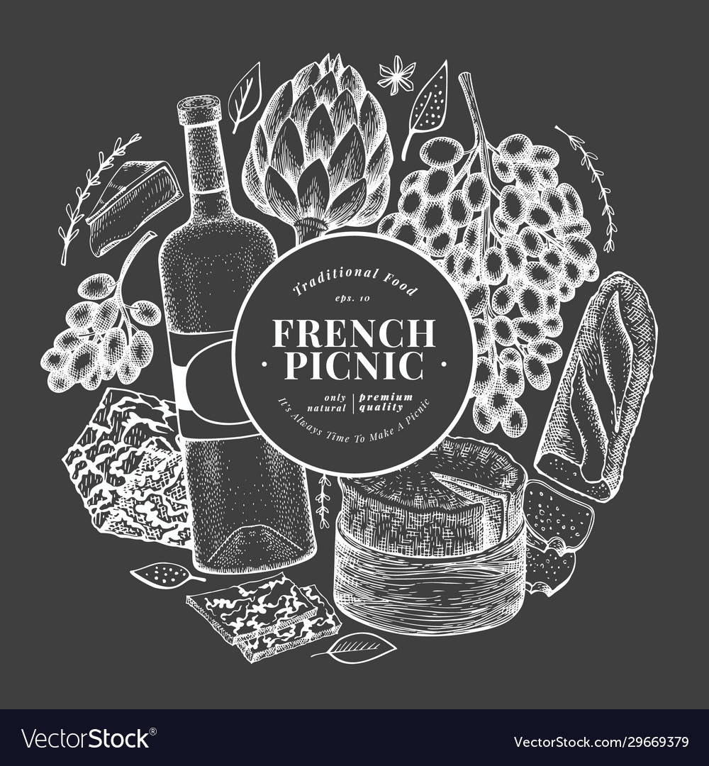 French food design template hand drawn picnic