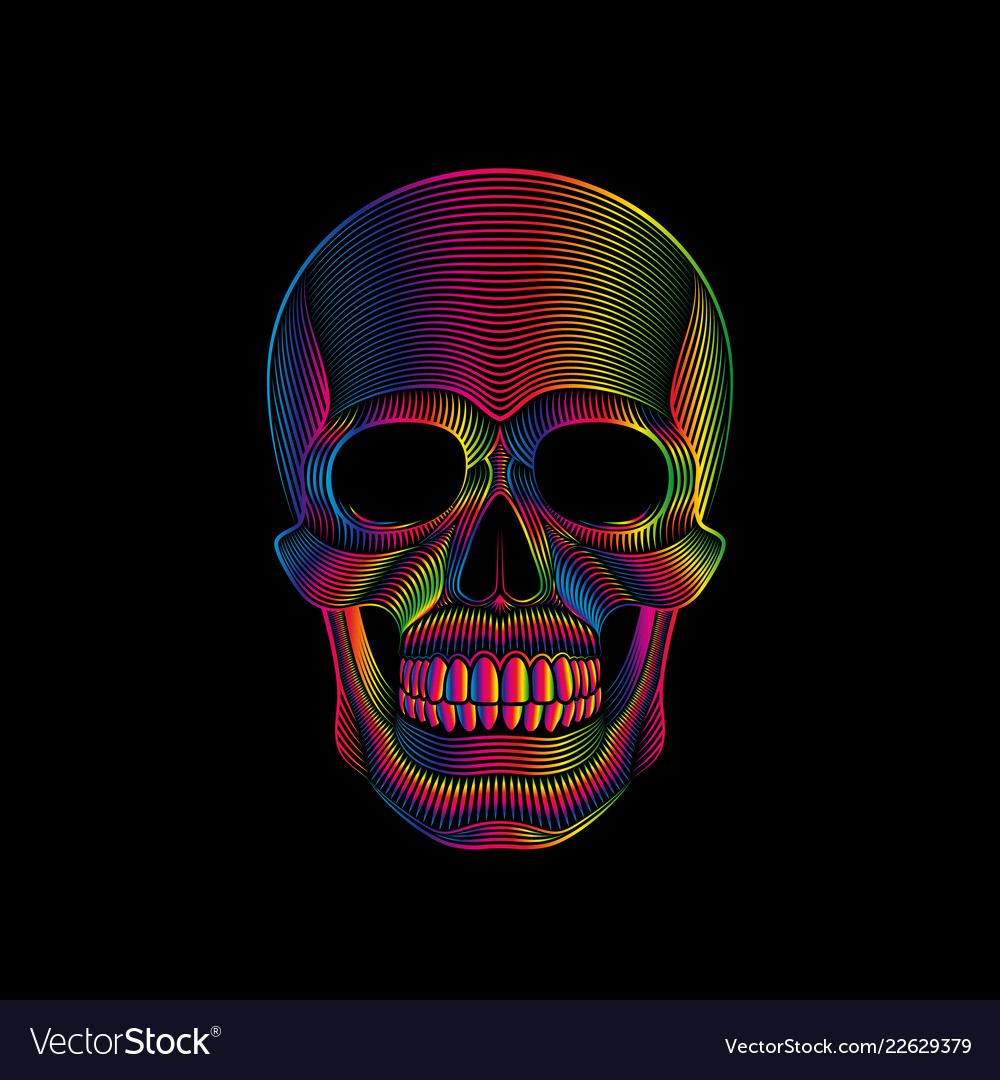 Graphic print of stylized skull in spectrum colors