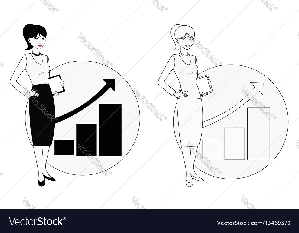 Professional employee on background of growing vector image