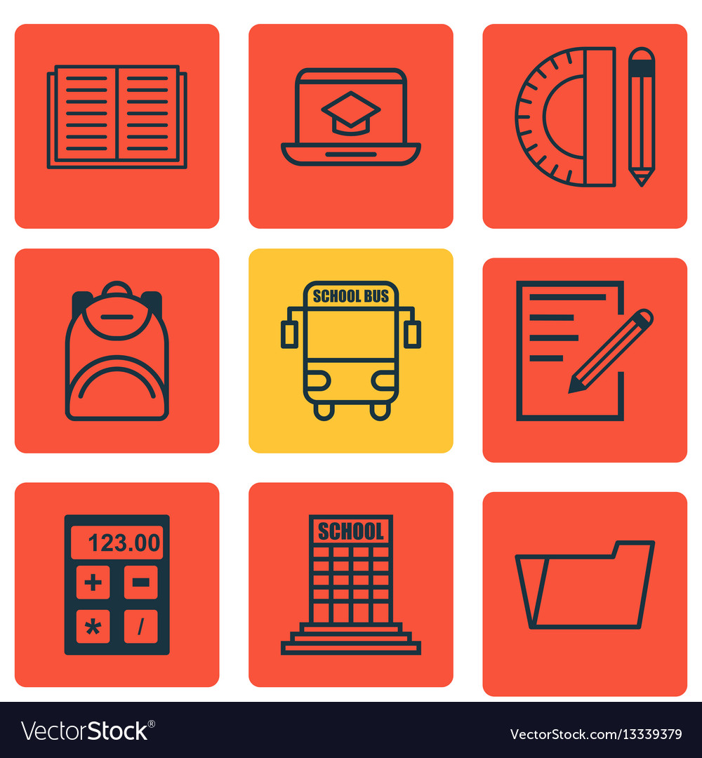 Set of 9 education icons includes opened book vector image