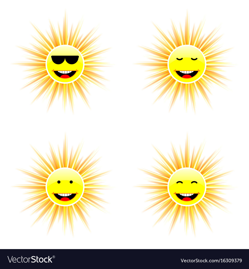 Sun with different face smile