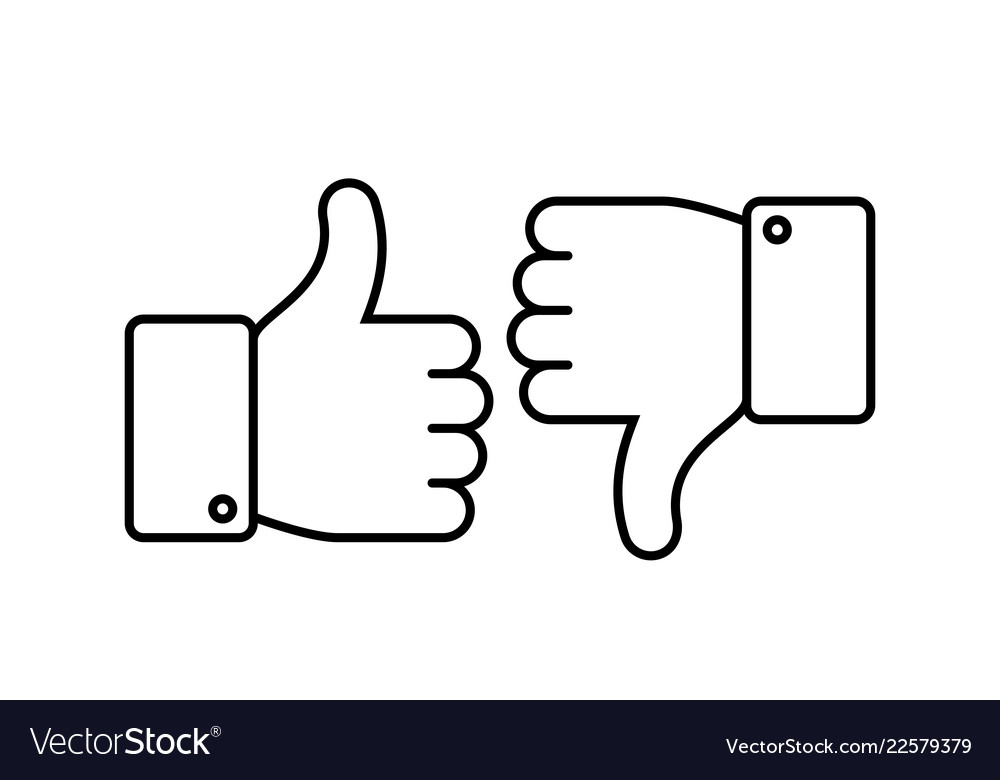 Thumbs up and down like and dislike line icons