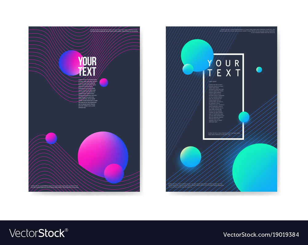 Abstract Posters Dark Space Background 3d Shapes Vector Image