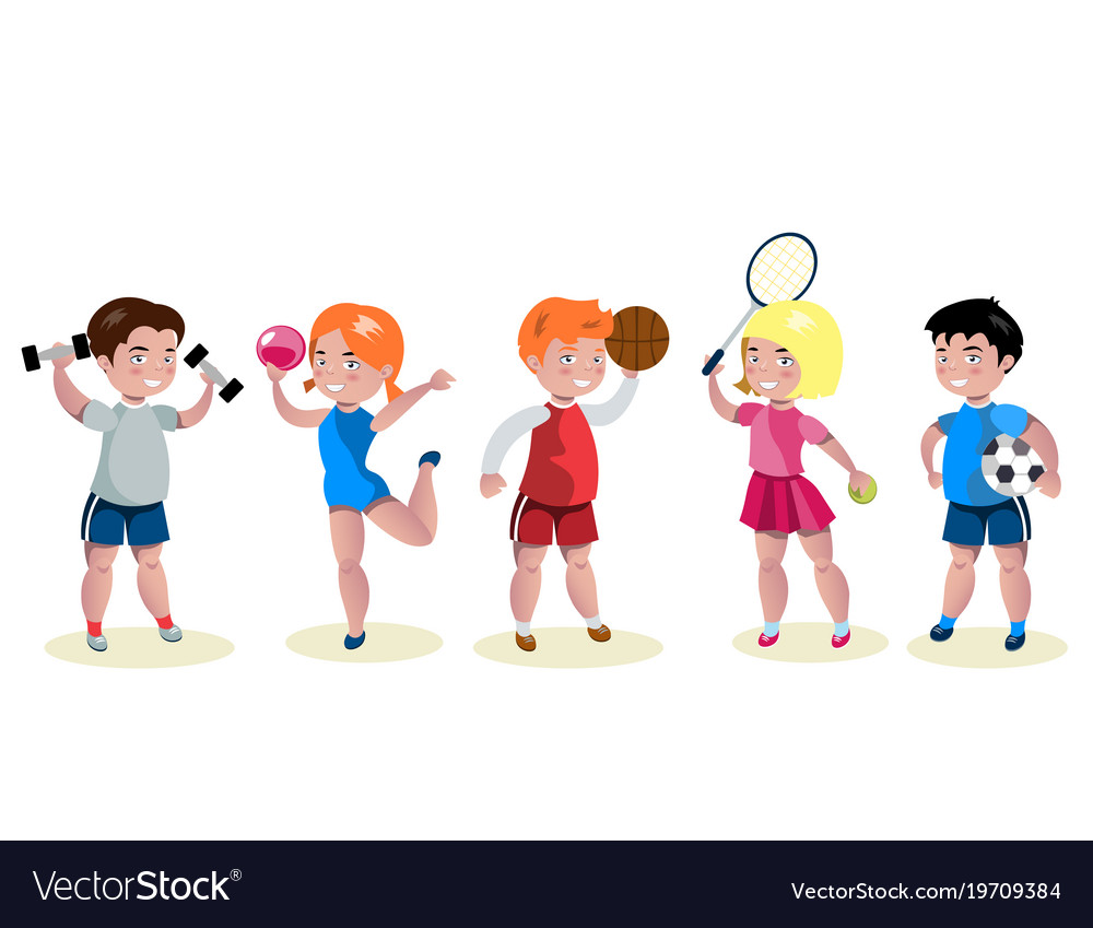 Cartoon kids sports characters set
