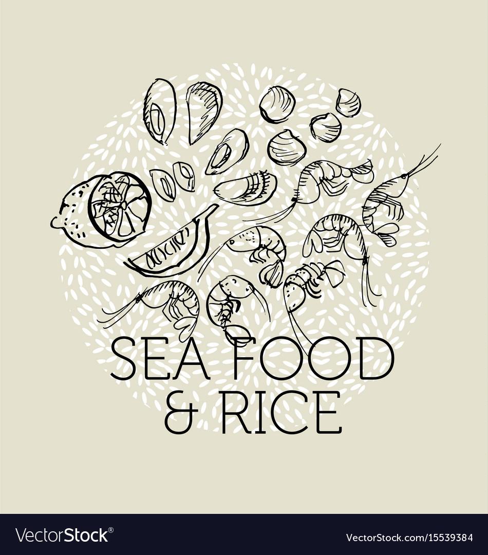 Concept hand drawn sea food elements