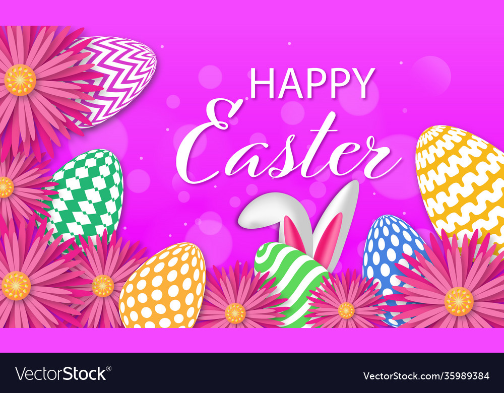 Easter poster and banner template with eggs