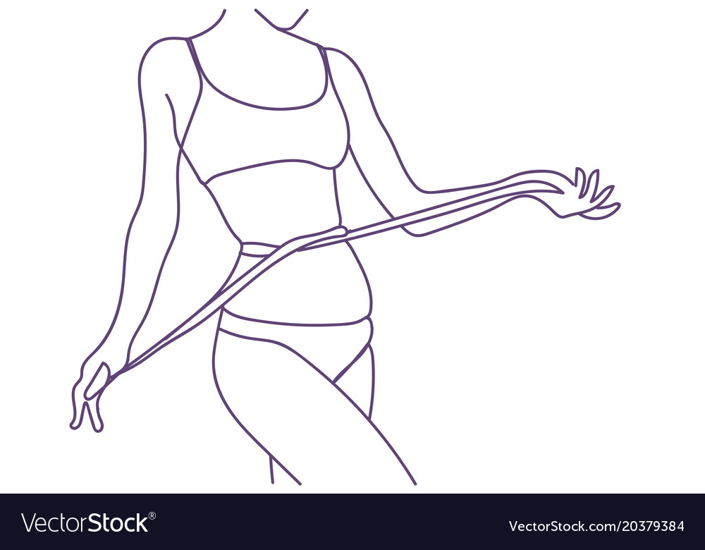 Fit Woman Measuring Waist Weight Loss Diet Vector Image Choose wisely for a healthy diet that keeps you full around the. vectorstock