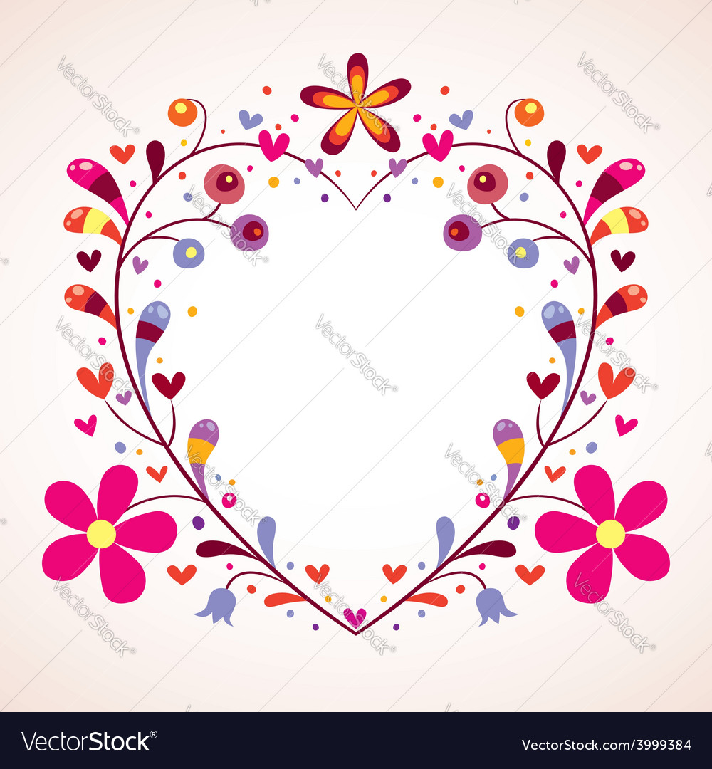 Floral heart frame Royalty Free Vector Image - VectorStock