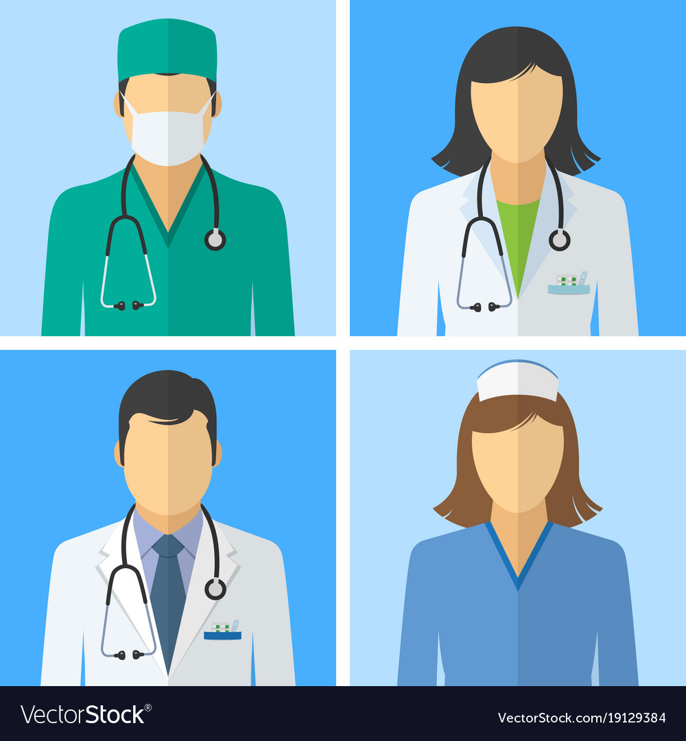 Medical icons doctor and nurse avatars