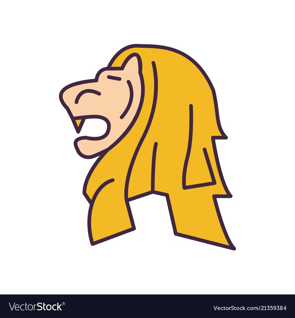 Merlion statue icon cartoon style