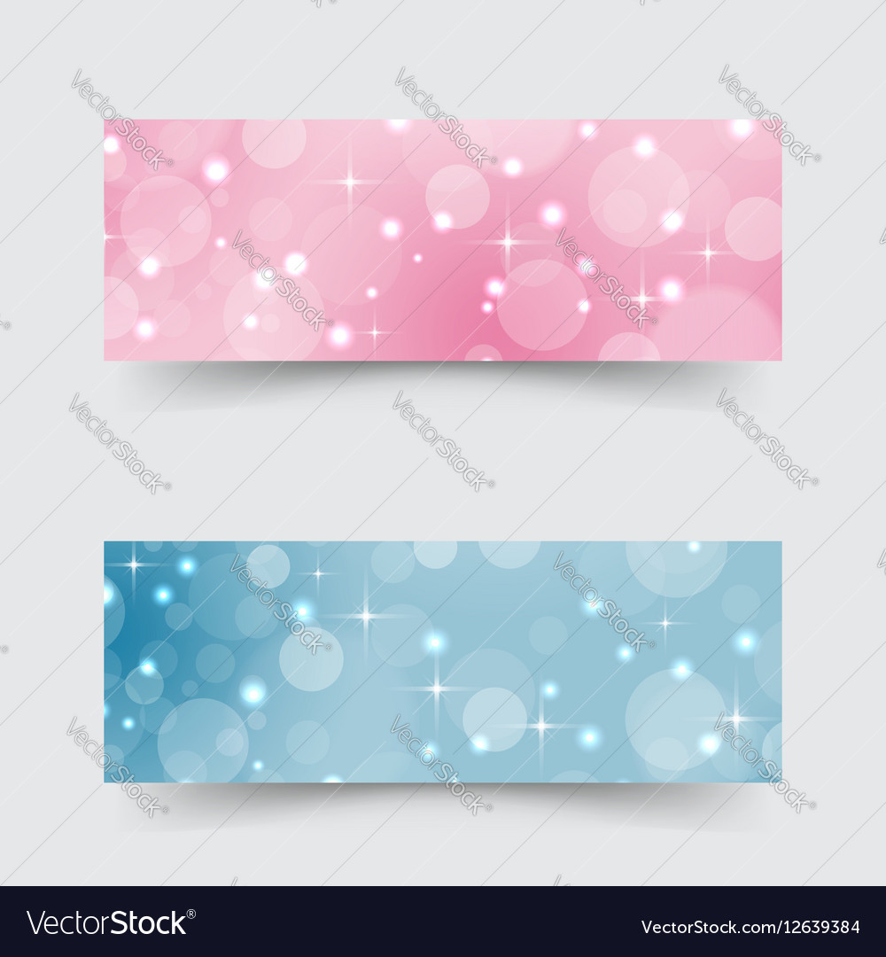 Modern banners with abstract circles and stars