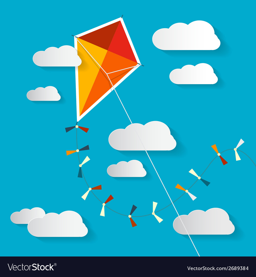 Paper Kite on Blue Sky with Clouds