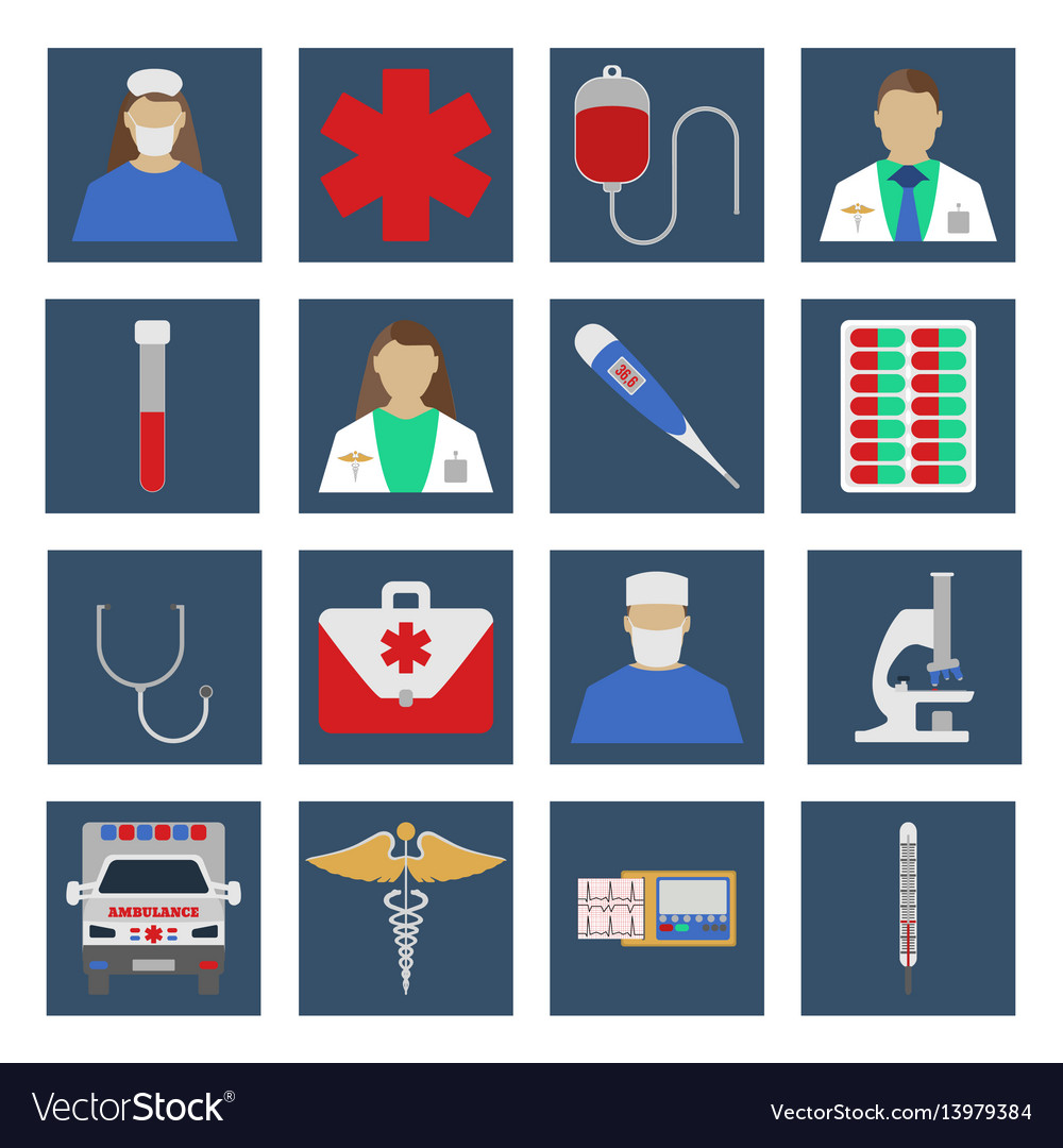 Set of medical object flat icon