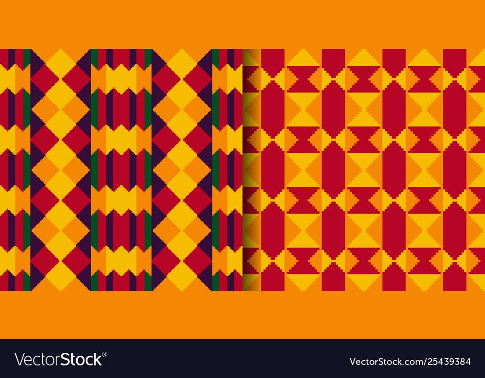 Set tribal seamless patterns cloth kente