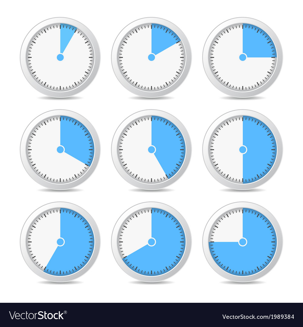 Timer Icons on White Background
