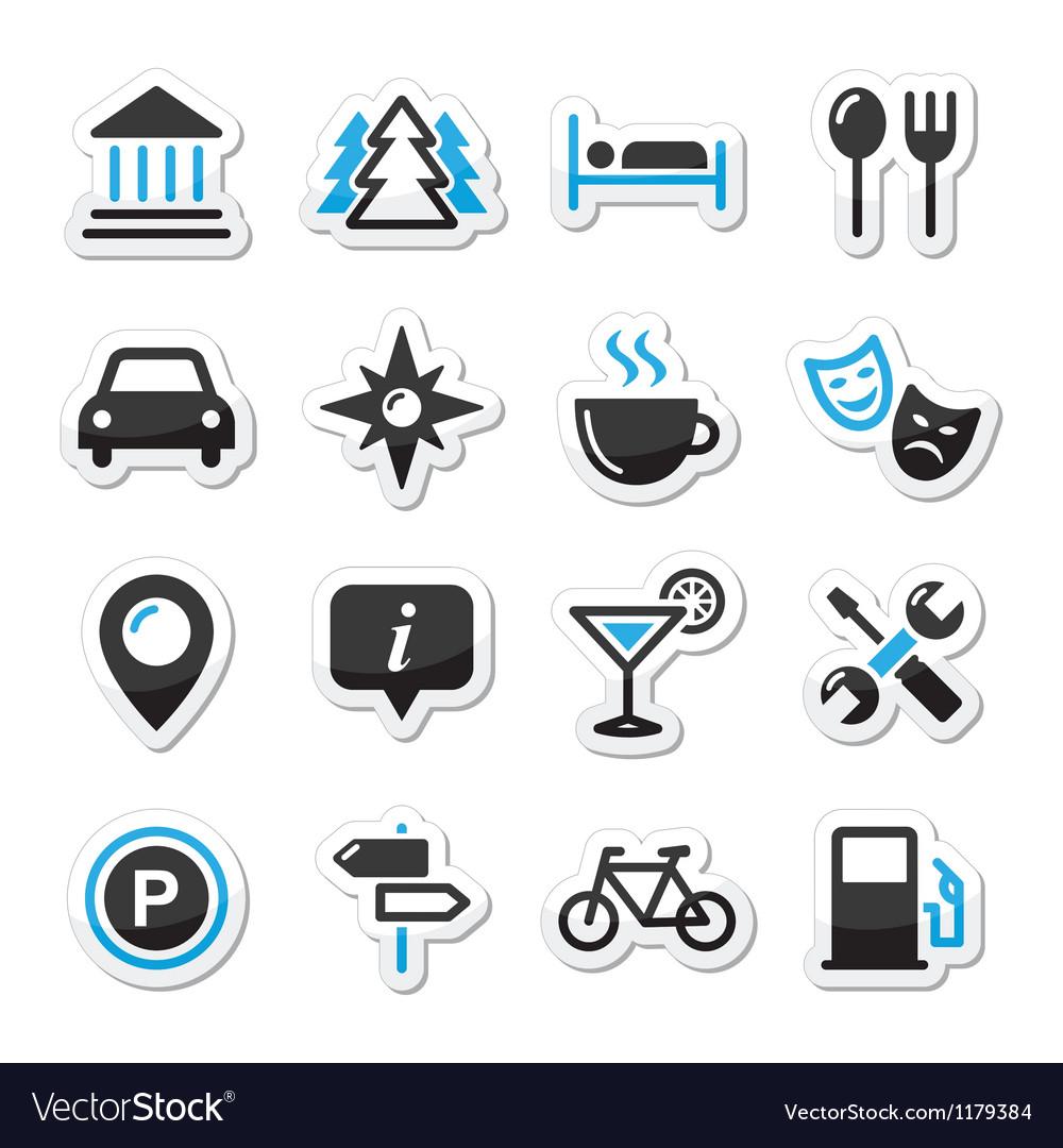 Travel tourism icons set vector image