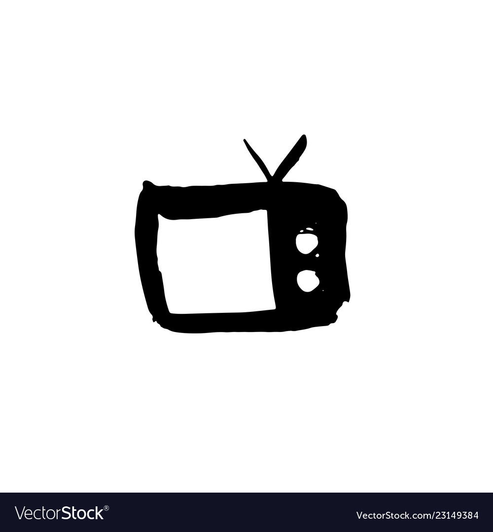 Tv grunge icon television watercolor brush