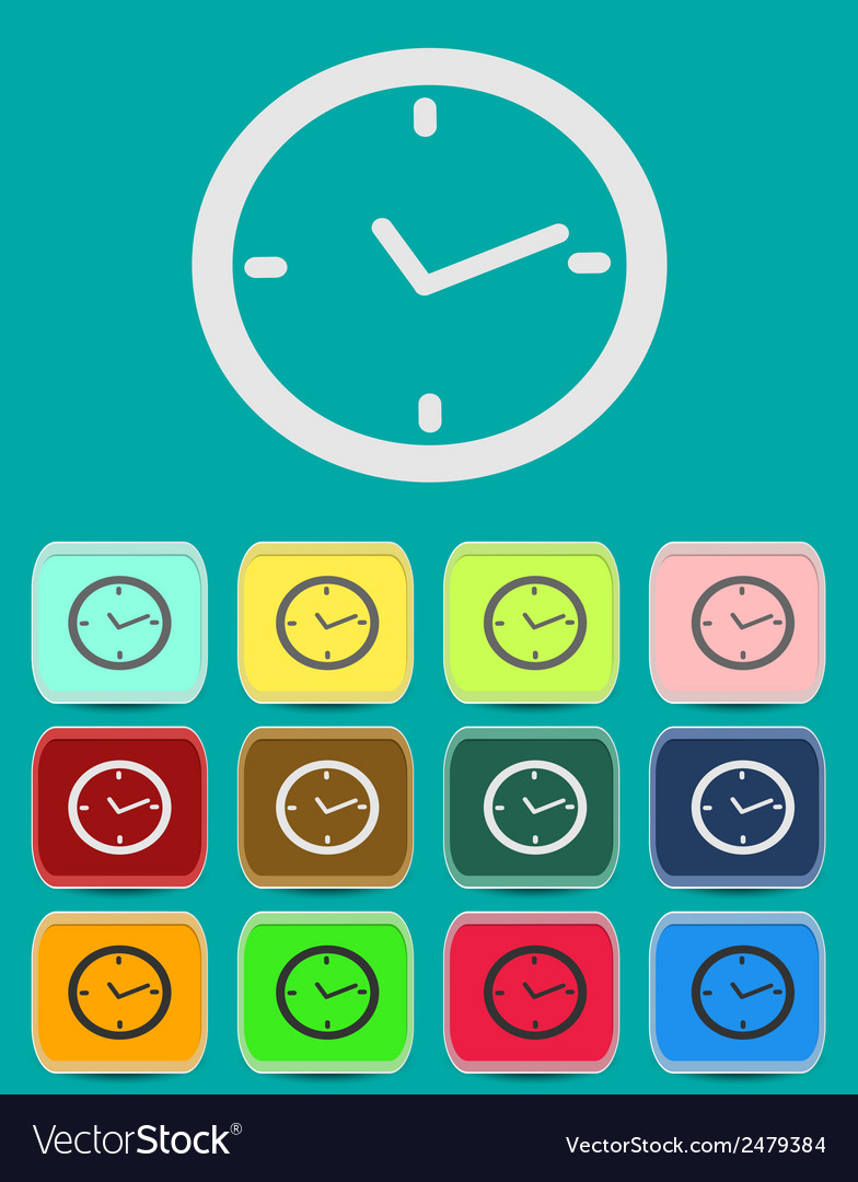 Watch clock icon in flat style