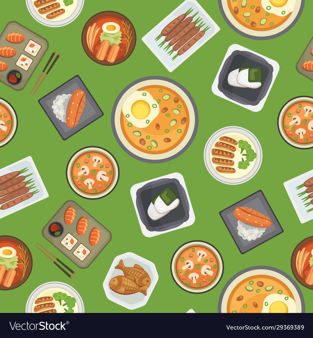 Asian food and chinese japanese cuisine cartoon
