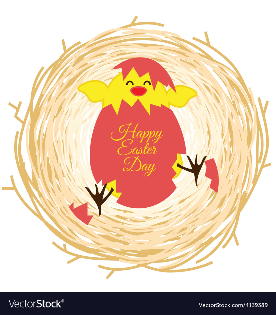 Bird nest and egg for Easter day greeting card
