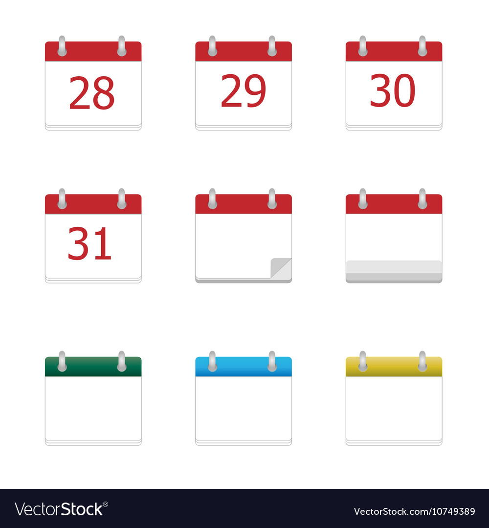 Calendar app icons 28 to 31 days