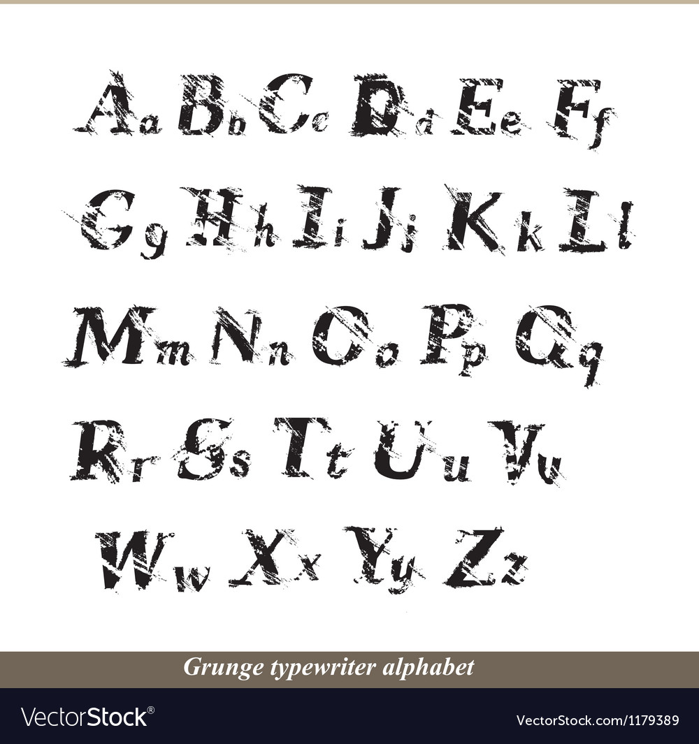 English alphabet - grunge typewritter letters