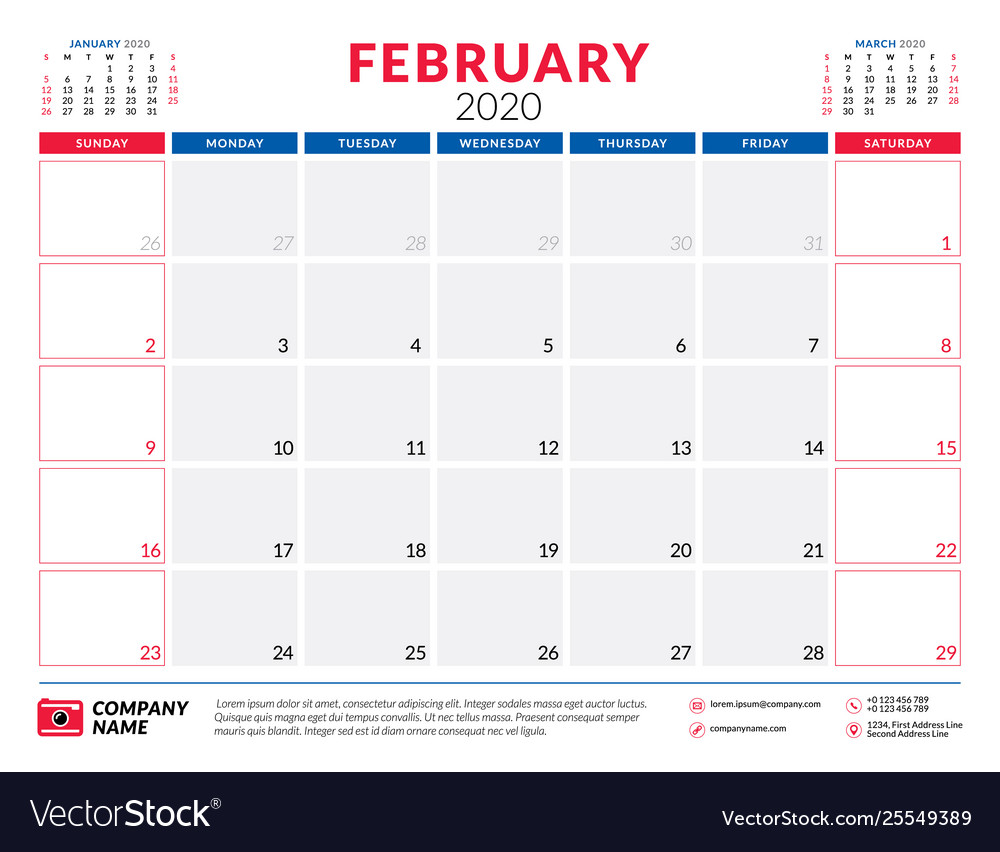 Calendar February 2020 Design February 2020 calendar planner stationery design Vector Image