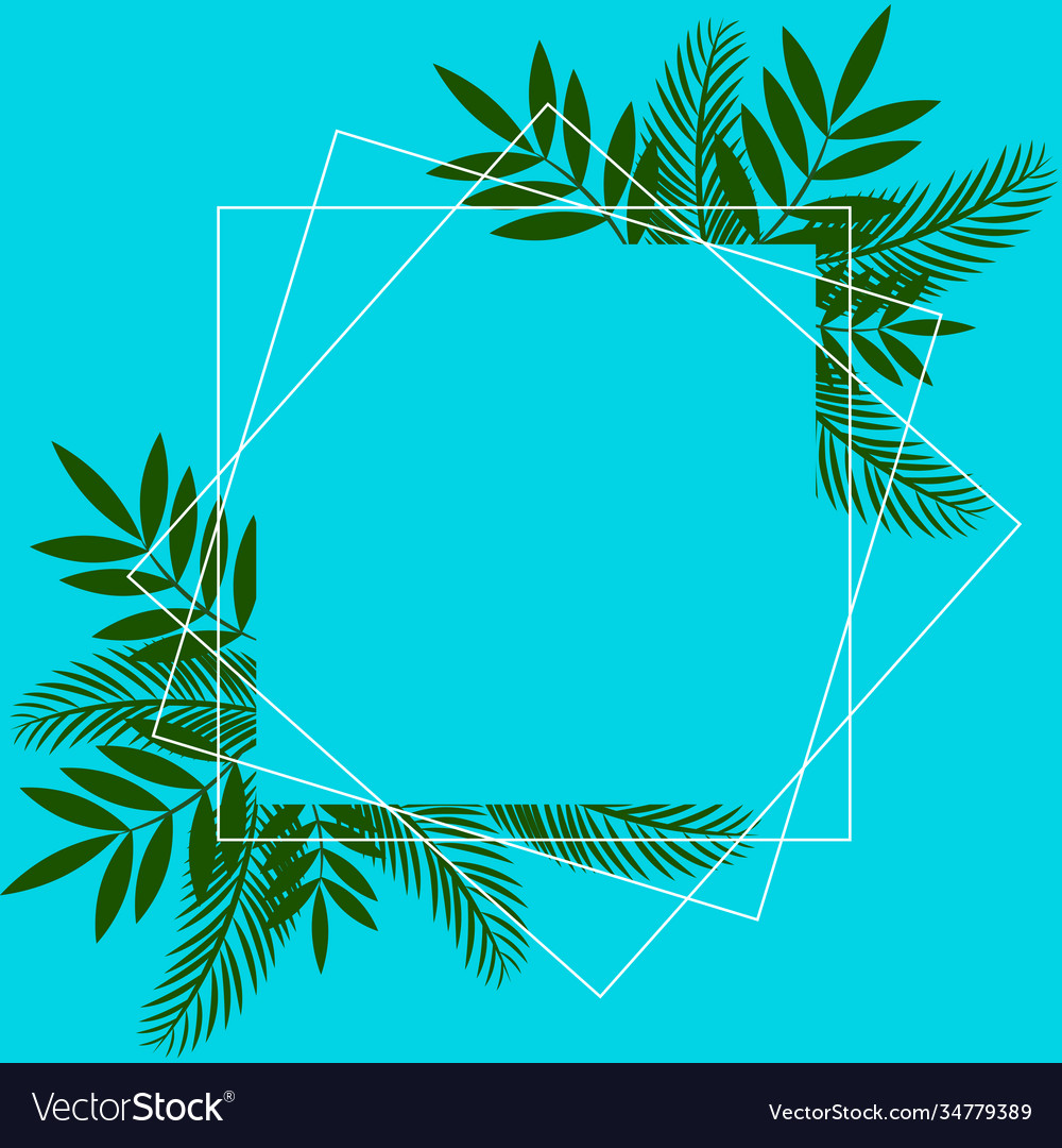 Flower frame over blue color editable card
