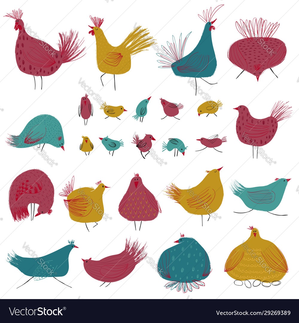 Funny collection with colorful chicken birds