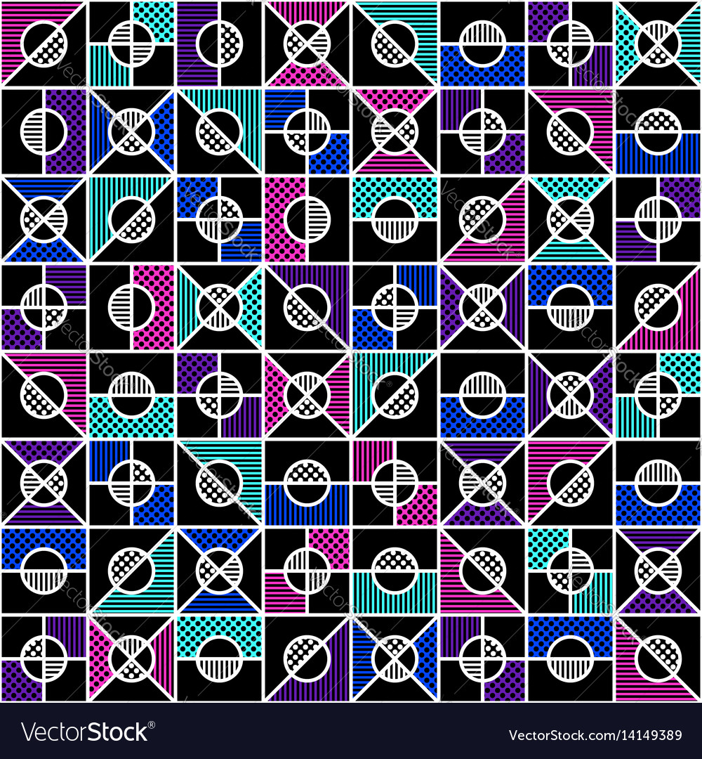 Geometric seamless pattern in style of the 80s