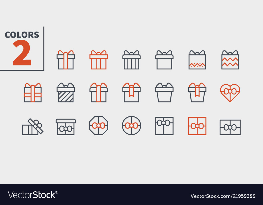Gifts pixel perfect icons well-crafted thin