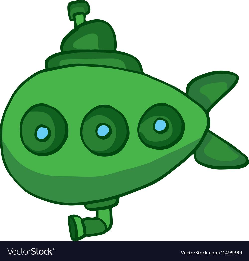 Green submarine underwater cartoon design