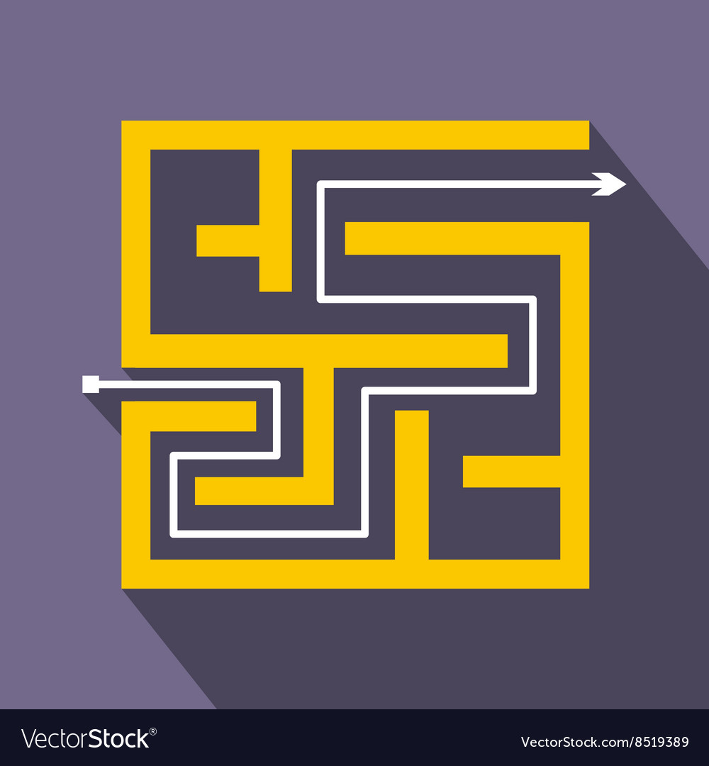 Labyrinth icon in flat style