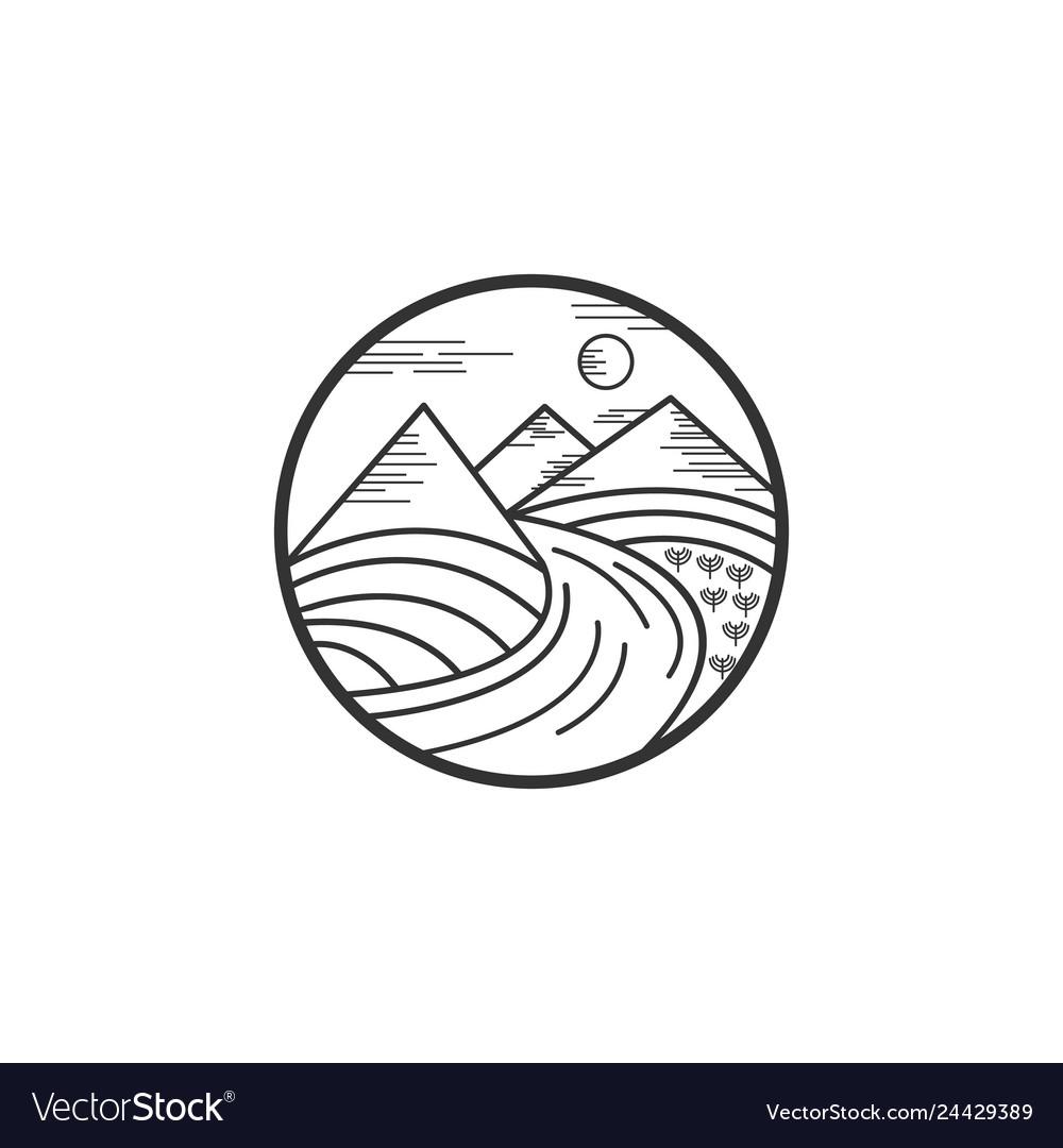 Mountain and river logo designs