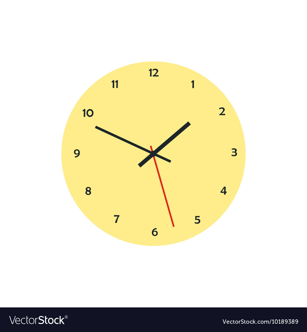 Round analog clock face icon in flat style