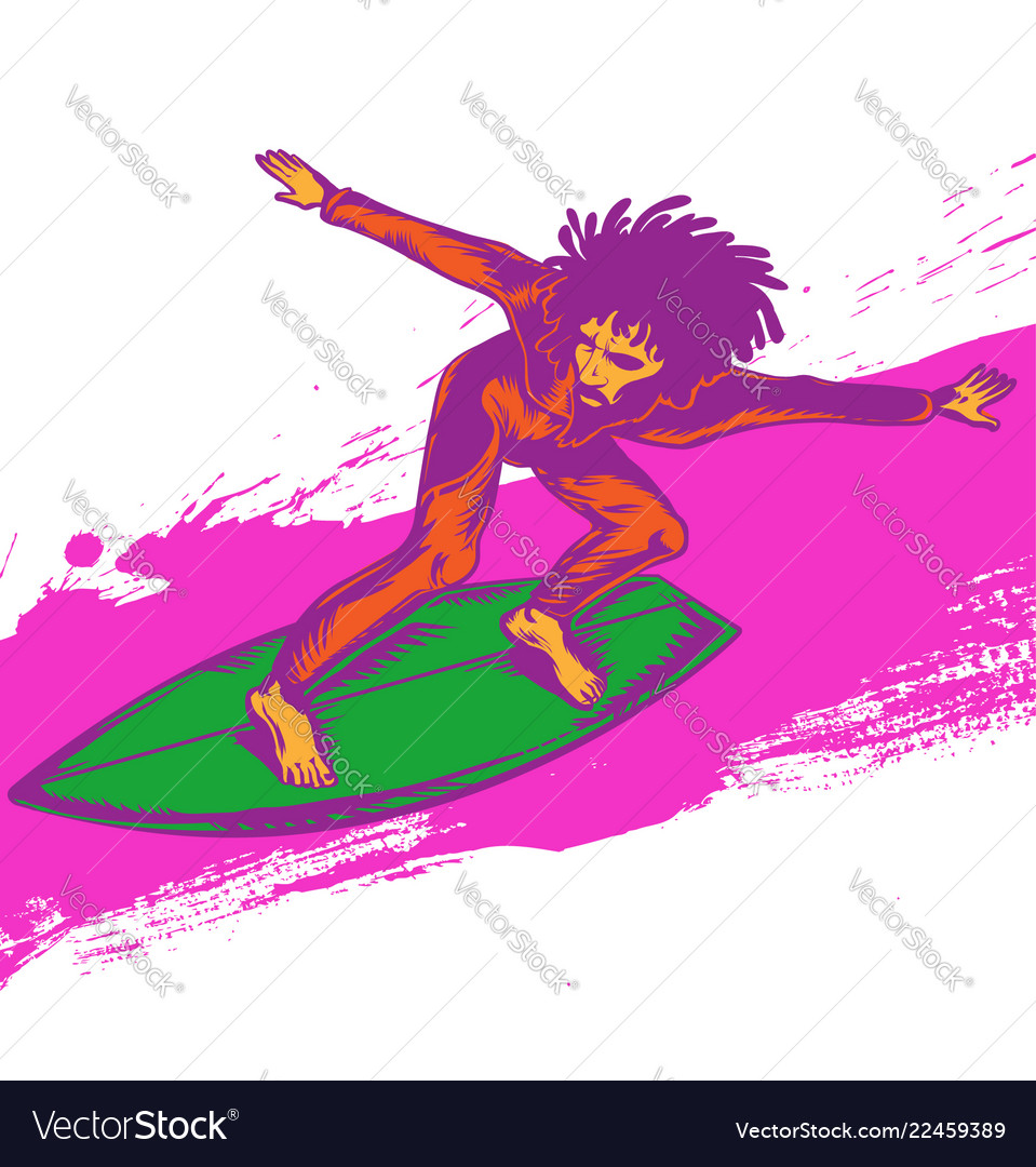 Surfer pop art on wave