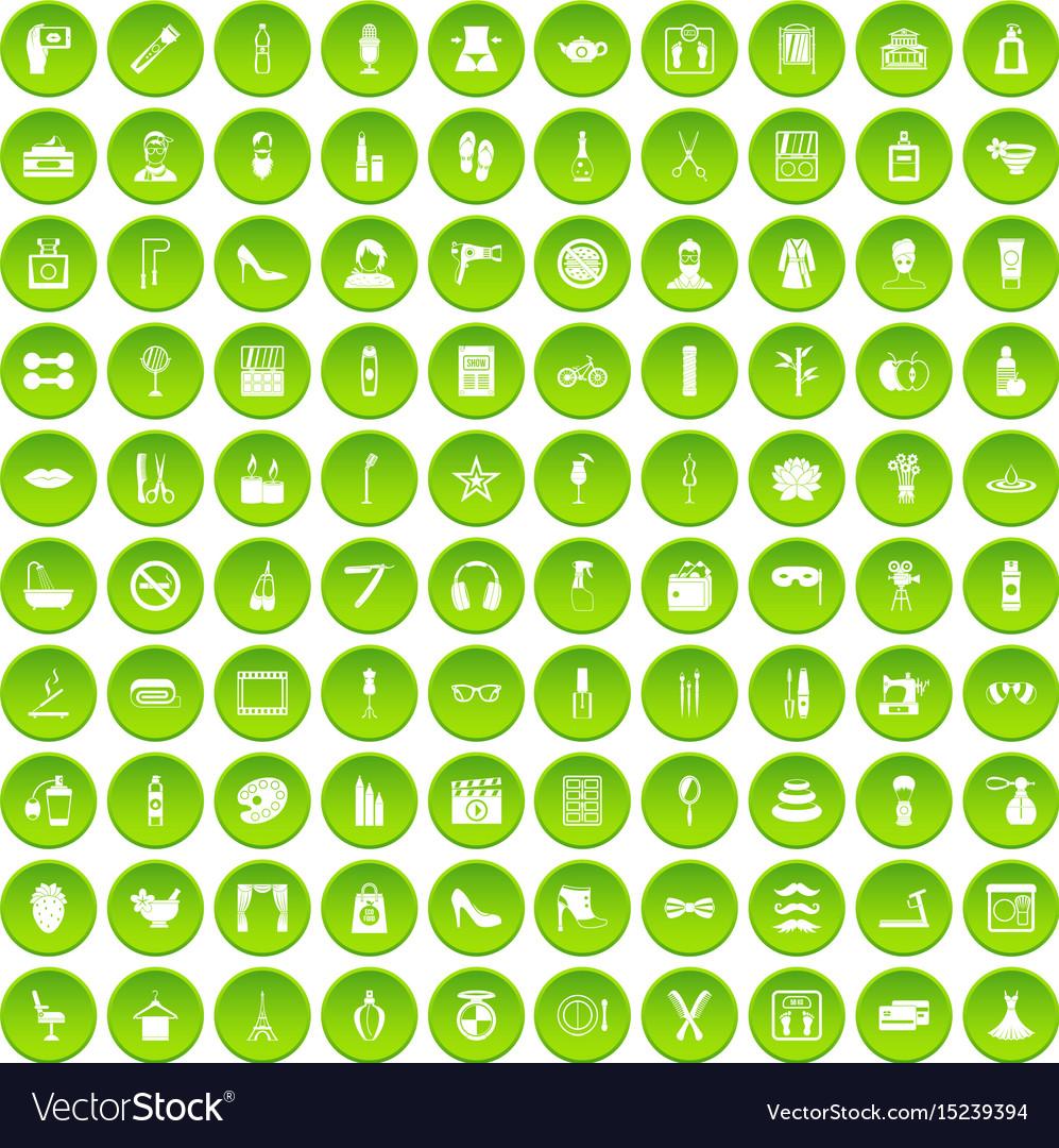 100 beauty and makeup icons set green circle