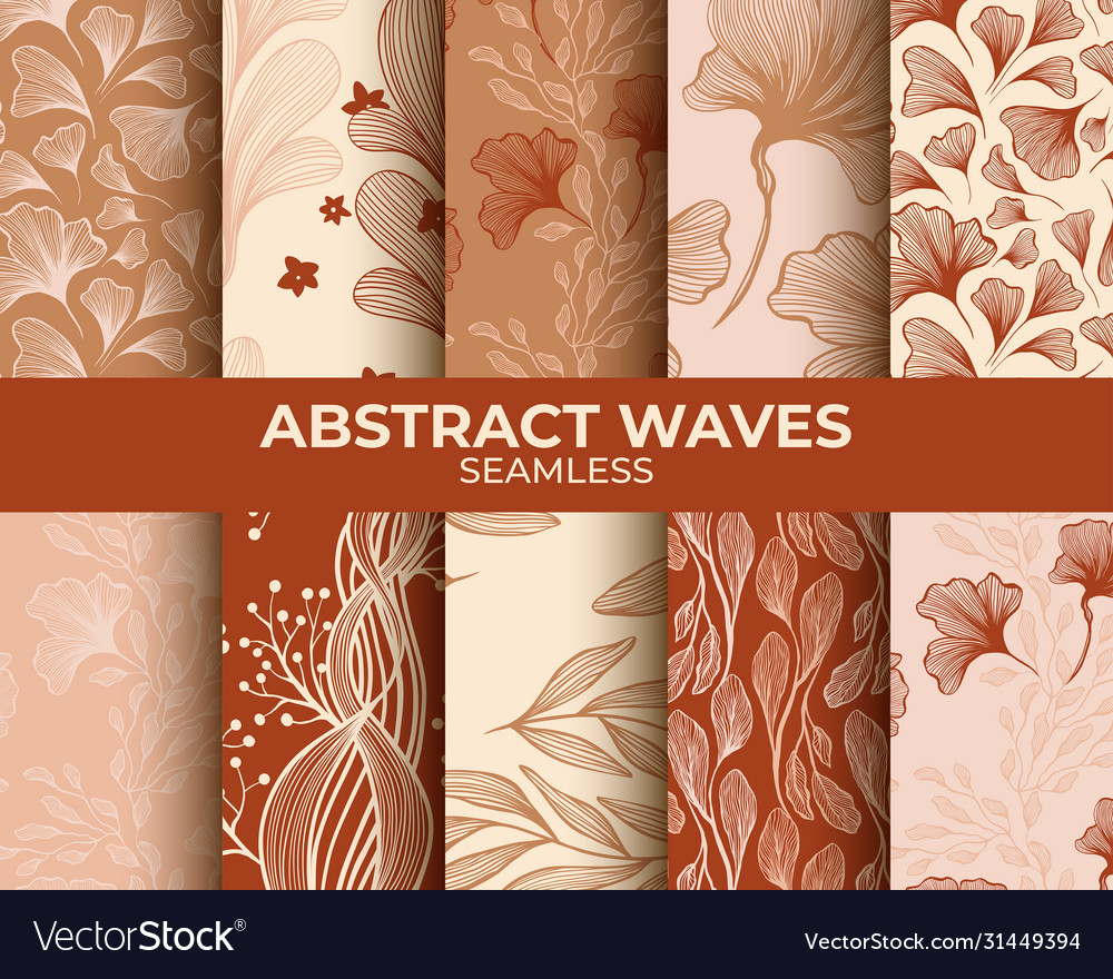 Abstract neutral beige seamless patterns set