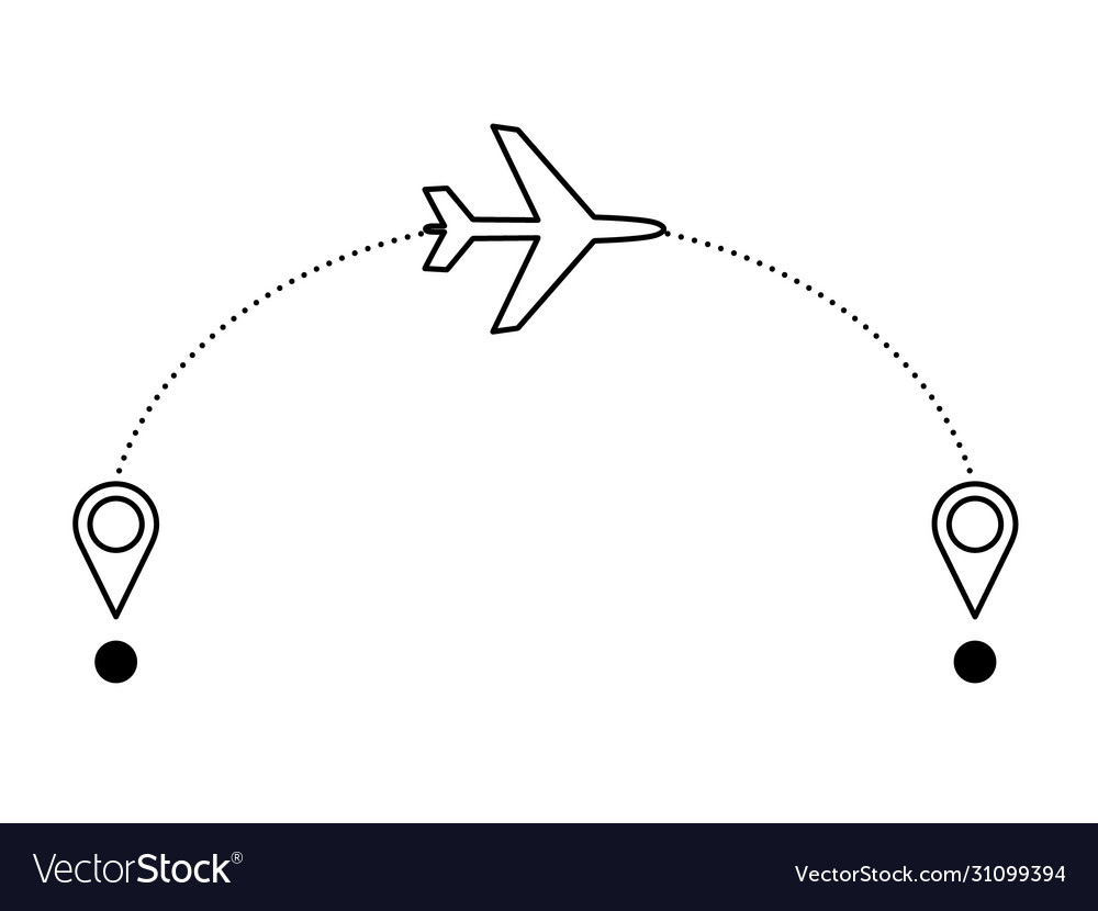 Airplane with airplane flight route and location