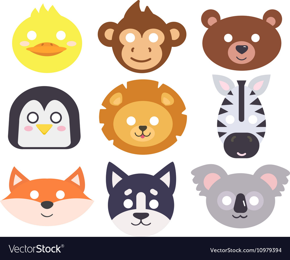 Animals carnival mask set