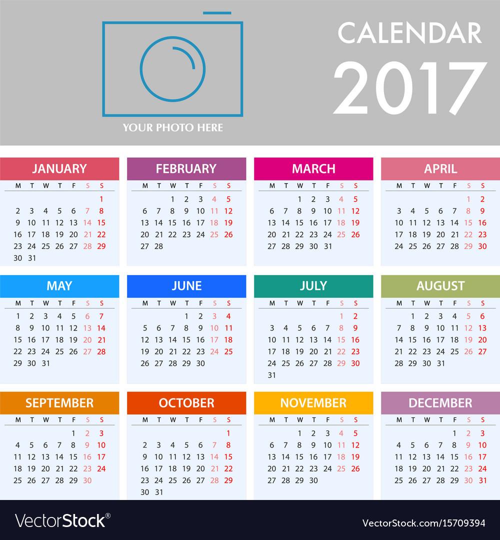 Calendar for 2017 on white background week starts