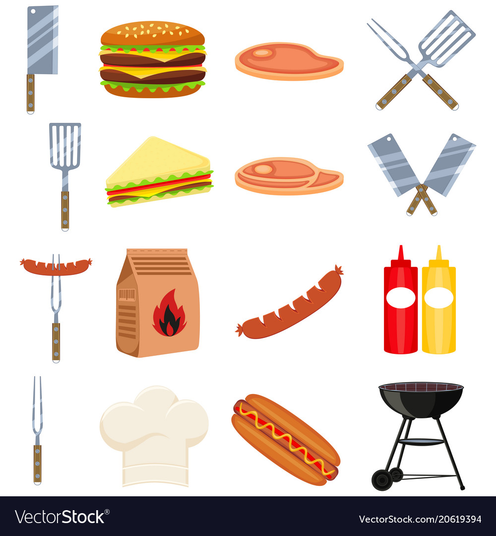 Colorful cartoon bbq outdoors 16 element set