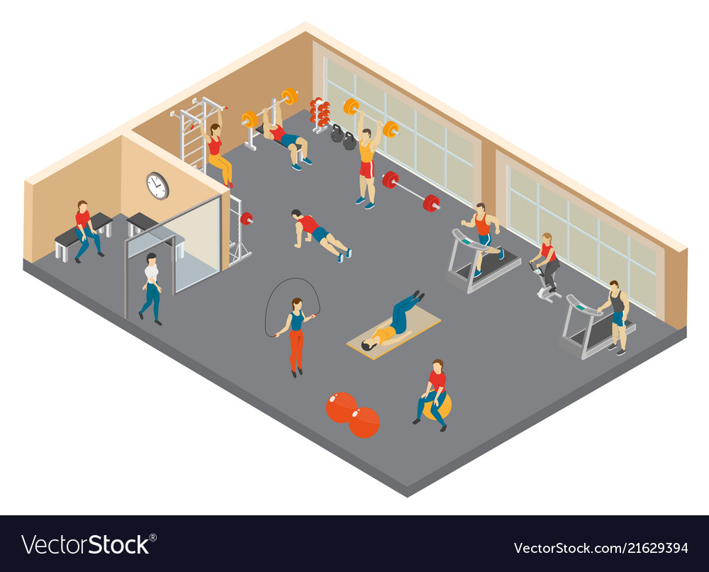Fitness hall isometric composition