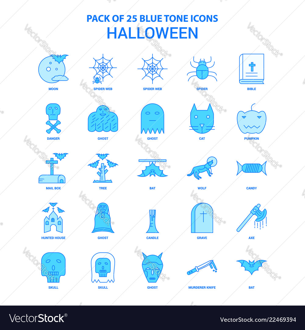 Halloween blue tone icon pack - 25 icon sets vector image