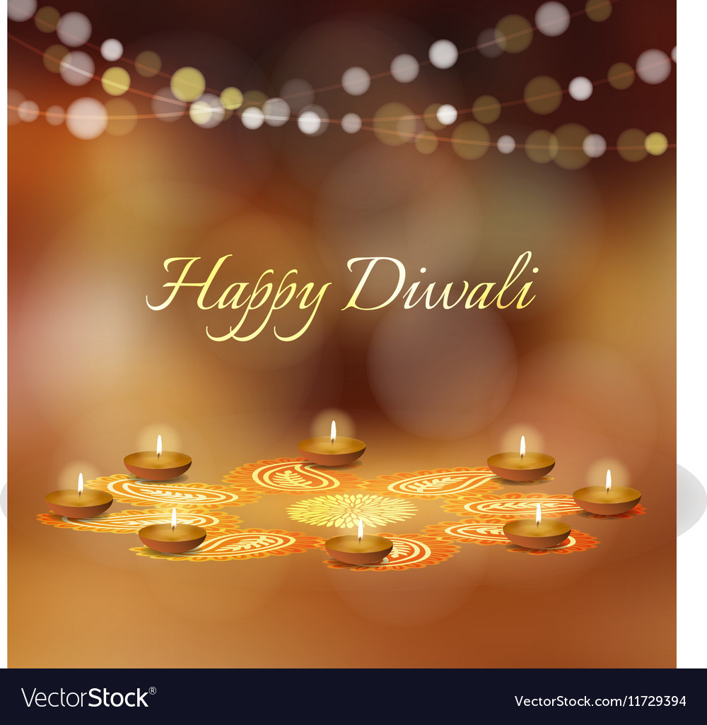 Happy Diwali Greeting Card Invitation Indian Vector Image