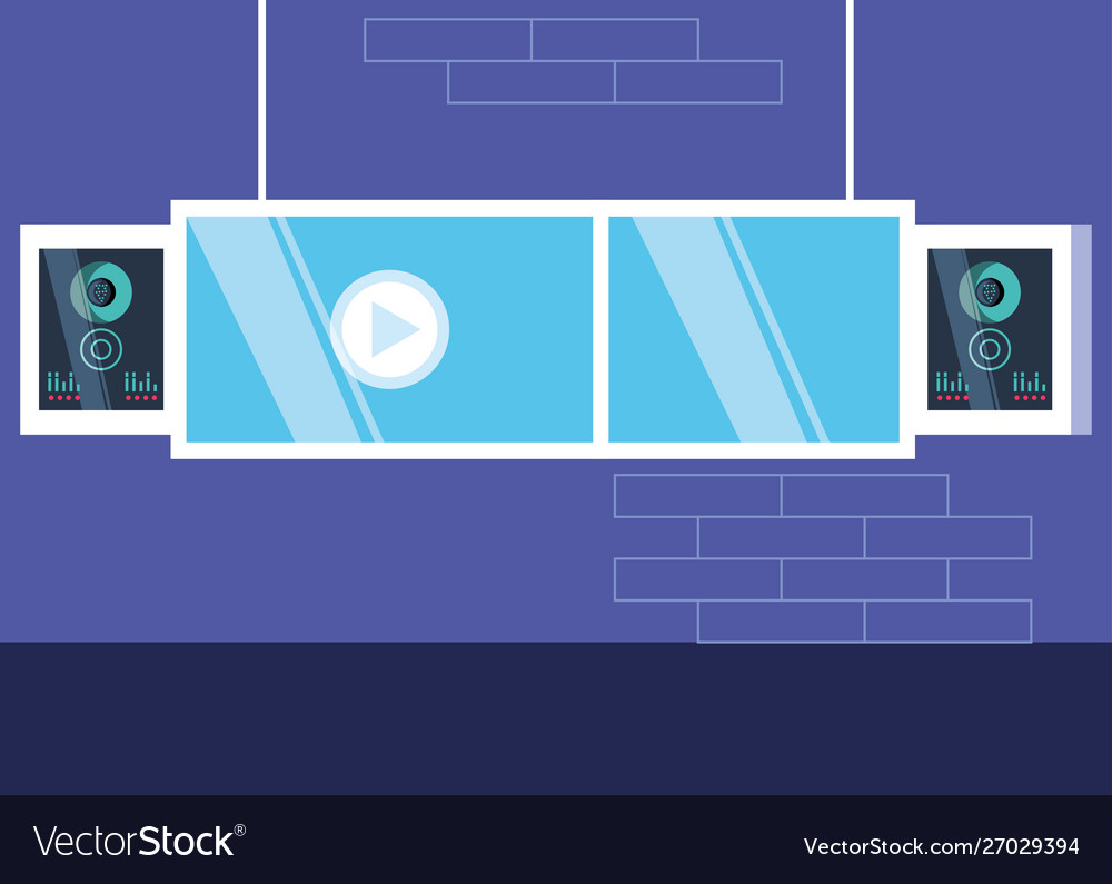Media Player Display Technology With Speaker Vector Image