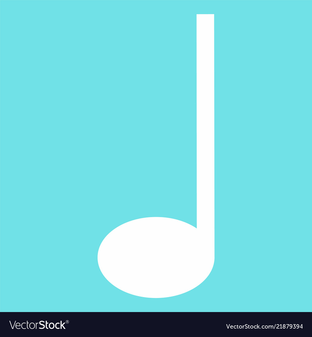 Quarter music note icon flat style