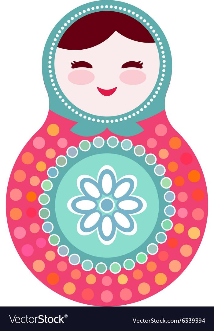 Russian dolls matryoshka on white background pink