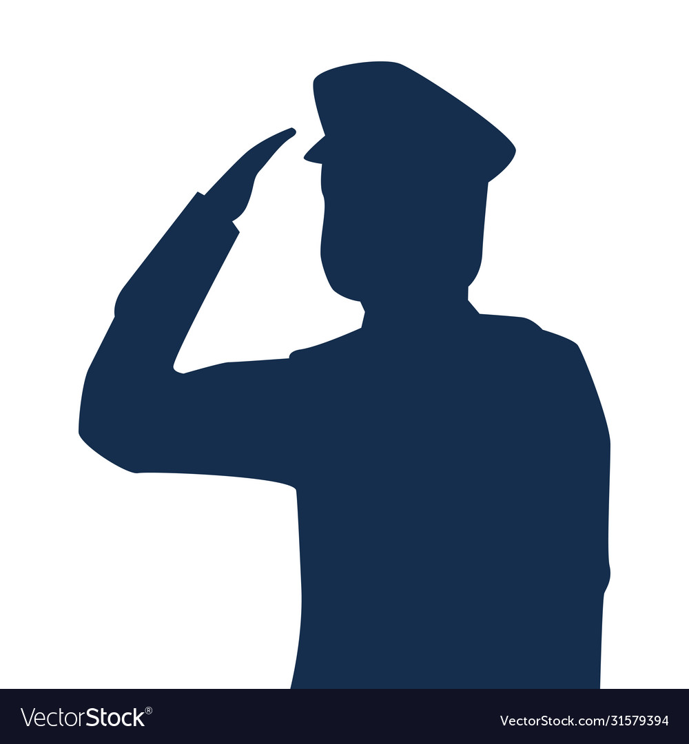 Saluting army soldier silhouette icon on white